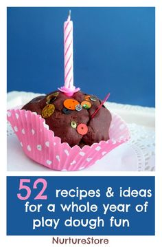 52 recipes and play ideas for a whole year of  play dough activities. Everything for sensory and imaginative play, creating small worlds, art projects, and math and literacy activities.