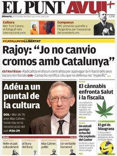Los Titulares y Portadas de Noticias Destacadas Españolas del 15 de Octubre de 2013 del Diario El Punt Avui ¿Que le pareció esta Portada de este Diario Español?