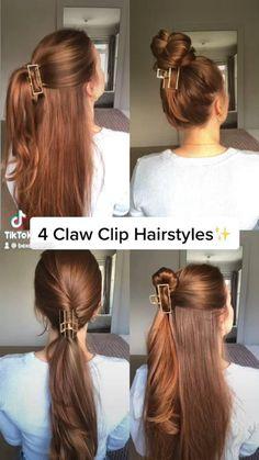 Clip Hairstyles, Bun Hairstyles For Long Hair, Front Hair Styles, Medium Hair Styles, Hair Style Vedio, Hair Tutorials For Medium Hair, Aesthetic Hair, Hair Videos, Hair Hacks