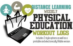PE Workout Logs- 2 Versions for Distance Learning - Amped Up Learning Physical Education Middle School, Middle School Health, Physical Education Lessons, Virtual High School, Online High School, Pe Lessons, Online Lessons, Guidance Lessons, Pe Activities