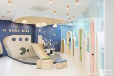 IB 노블키즈 - 와이엠디자인 Kindergarten Interior, Kindergarten Design, Kids Salon, Preschool Decor, Kids Indoor Playground, Kids Cafe, Clinic Interior Design, Kids Store, Kid Spaces