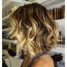 Curly blonde and chestnut bob