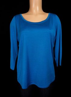 EILEEN FISHER Knit Top L Large Blue 3/4 Sleeve Lightweight Silk Cotton Shirt #EileenFisher #KnitTop #Casual