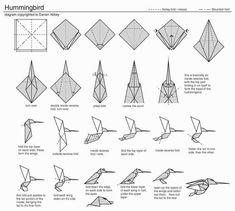 how to make origami hummingbird step by step Origami Design, Origami Simple, Instruções Origami, Origami And Kirigami, How To Make Origami, Origami Folding, Paper Crafts Origami, Origami Stars, Oragami