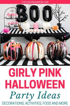 Halloween is coming and it's making an entrance!Start the spooky season with a bang with this fun and creative party concept! Check out the blog for more details on Girly Pink Halloween Party Ideas! Halloween can be a girly event. With the inclusions on birthday party decorations, free printables, DIY crafts, homemade projects, and fun party activities, this Halloween party is surely gonna be the event of the month! Don't forget to invite all the friendly ghosts!#partycrafts #DIYpartydecor Halloween Cans, Pink Halloween, Halloween Crafts For Kids, Halloween Party Decor, Holidays Halloween, Party Activities, Halloween Activities, Craft Party, Birthday Party Decorations