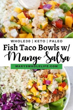 These Whole30 Fish Taco Bowls with Mango Salsa are an easy and delicious summertime meal! Mahi Mahi is coated with a cajun seasoning and pan fried, then served with mango salsa and a tangy chipotle aioli. Serve in a bowl or on tortillas of choice! #whole30 #whole30recipes #paleo #keto #ketorecipes #paleorecipes #grainfree #fishtacos #fishtacobowls #septemberwhole30 #glutenfree #dairyfree Fish Recipes, Seafood Recipes, Paleo Recipes, Mexican Food Recipes, Cooking Recipes, Paleo Sauces, Skinny Recipes, Vegetable Recipes, Recipies