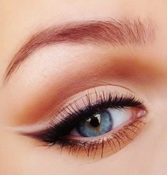 Winged liner with nude on top, love the subtle bronze underline too