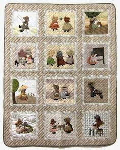 Quilt d'Isabelle. Lovely Sunbonnet Sue quilt with neutral colors.