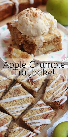 A Delicious Spiced Apple Crumble Traybake Cake with a Sweet Apple & Cinnamon Sponge, and a Homemade Crumble on top! Tray Bake Recipes, Baking Recipes, Cake Recipes, Dessert Recipes, Baking Ideas, Baking Tips, Dessert Ideas, Cake Ideas, Apple Desserts