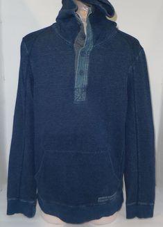 3b8fedf7 ARMANI EXCHANGE Mens Distress Hoodie 1/3 Button Sweatshirt Blue Jean Look  Small | eBay