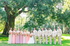 Mix + Match Bridesmaid Dresses in Shades of Pink, Men in Tan Suits with Light…