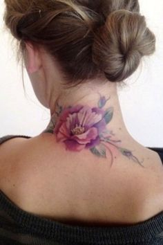 Flower Tattoo On Nape