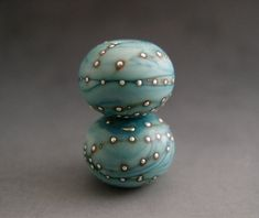 Naos Glass - Laguna Pair - Made To Order Artisan Glass Beads Blue Turquoise Fine Silver Handmade Lampwork Beads SRA on Etsy