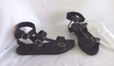 PRADA Black Gladiator Strappy 3 Buckle Flat Sandals Size 39 Womens' Shoes #PRADA #Strappy