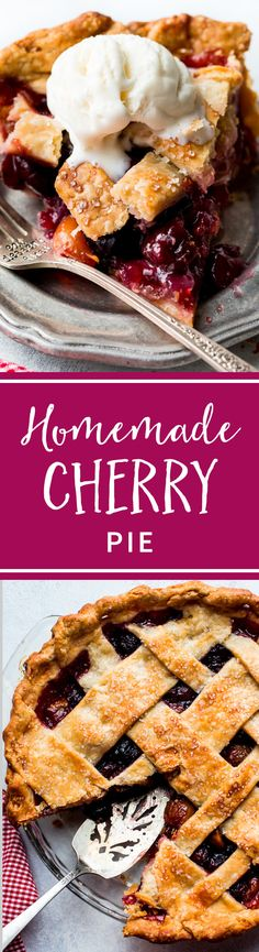 Learn how to make the best homemade cherry pie from scratch! With a buttery flaky pie crust and juicy cherry filling, this is the essential summer dessert! Recipe on sallysbakingaddic. Brownie Desserts, Oreo Dessert, Mini Desserts, Coconut Dessert, Summer Desserts, Just Desserts, Delicious Desserts, Yummy Food, Tart Recipes