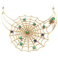 Gem Set Gold Spider Web Necklace Antique Necklace, Antique Jewelry, Vintage Jewelry, Insect Jewelry, Animal Jewelry, Jewelry Box, Jewelry Necklaces, Jewellery, Beaded Spiders