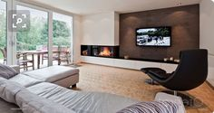 Living Room Decor Fireplace, Stairs In Living Room, Family Room Fireplace, Home Fireplace, Fireplace Remodel, Modern Fireplace, Fireplace Design, New Living Room, Home And Living