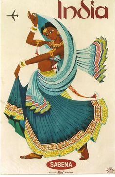 Vintage Airline Poster / Sabena - India / 1969
