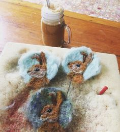 Felting bunny medallions and drinking a bullet proof coffee with grassfed butter..... Perfect way to start the day on this New Moon...... #art #wool #painting #woolpainting #handmade #coffee #morning #needlefelt #needlefelted #needlefelting #felting #felted #bunny #spring #sacred #makeart #wild #nature #natural #bulletproofcoffee