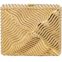 Judith Leiber Women's Square Beaded Box Clutch - Gold (614.310 CLP) ❤ liked on Polyvore featuring bags, handbags, clutches, gold, beige handbags, gold purse, metallic box clutch, beaded purse and chain handle handbags