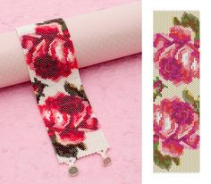 Bead & Button Magazine June 2016   PEYOTE STITCH   Bed of Roses bracelet   Create a stunning peyote stitched bracelet of blooming roses in lavish hues of red and pink. Designed by Justyna Szlezak.