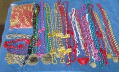 Large Lot of Mardi Gras Beads, LSU, Zulu, Various sizes and colors 41 strands