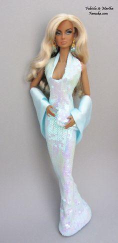 Aquamarine Iridescent Sequin Fashion  For Fashion Royalty and Silkstone Barbie