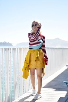 fall fashion trends: red valentino intarsia seaside stripe sweater and yellow skirt