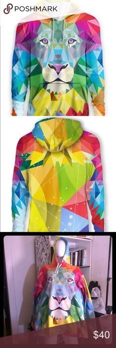 "Fun low poly multicolor acid raver lion hoodie XL Awesome psychedelic low poly lion hoodie!  Party in all the colors of the rainbow & get DOWN at your next music festival in this oversized dope multicolored hoodie!  It's a unisex XL a friend of mine gifted to me & is perfect for bundling up when you're braving the colder party seasons!  I am 5'4"" and it fits me like a dress but looks intentional & awesome.  Some significant piling shown in photos.  Offers always accepted! shirtwascash Tops…"