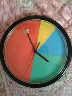 """Autisme kleurenklok: goedkoop, van oude klok. Met gekleurd papier tijdvakken erop geplakt. Voor jonge kinderen om tijd inzichtelijk te maken, zonder een vermogen uit te geven voor een """"echte""""."""