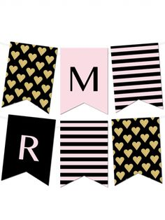 Free Printable Banner from - type in your own letters Striped Gold Heart Banner Heart Banner, Bunting Banner, Pennant Banner Template, Party Printables, Free Printables, Printable Templates, Free Printable Banner Letters, Printable Birthday Banner, Make Your Own Banner