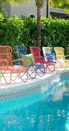 Enjoy your day in the sun, lounging in the deep, contoured seat and bold, colorful design of our modern and retro version of traditional rattan: the Rizza outdoor furniture collection.