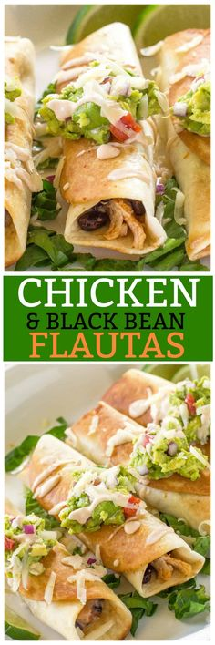 Chicken and Black Bean Flautas - an easy Mexican appetizer or main dish filled with chicken, salsa, black beans, and Pepper Jack cheese. Top it with a chipotle cream sauce and guacamole. #cincodemayo the-girl-who-ate-everything.com