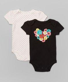 Look what I found on #zulily! Black Flower Heart & White Bodysuit Set - Infant #zulilyfinds