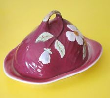 Staffordshire Shorter & sons covered butter cheese dish dogwood flowers red 2pc