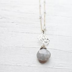 Gray Moonstone Necklace w/ Rose by CamileeDesigns on Etsy