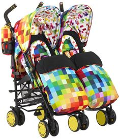 Supa Dupa Twin Stroller - Pixelate