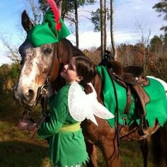cool Halloween costumes for horses and riders peter pan and fairy