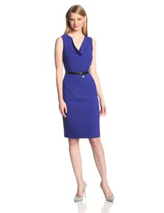 Calvin Klein Women's Belted Sheath Suit Dress at Amazon Women's Clothing store: