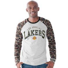Los Angeles Lakers G-III Sports by Carl Banks Camo Jersey Raglan Long Sleeve T-Shirt - Heather Gray - $49.99