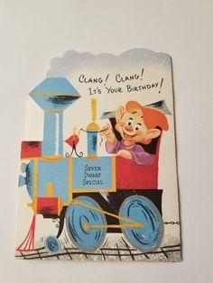 vintage greeting card Happy Birthday Seven Dwarfs Train Card Happy Birthday Nephew, It's Your Birthday, Happy Birthday Cards, Birthday Greetings, Easter Greeting Cards, Vintage Greeting Cards, Girls Bible, Vintage Birthday Cards, American Greetings
