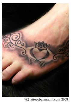 Claddagh tattoo foot design