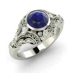 Rings - Angelina - Sapphire Ring in 14k White Gold with SI Diamond (1.03 ct.tw.)