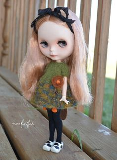 Knitting/Sweater Dress  Green Garden with unique brooch by moofafa