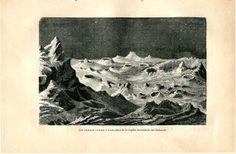 1901 Antique Print, Lunar Landscape,  Moonscape South West Highlands