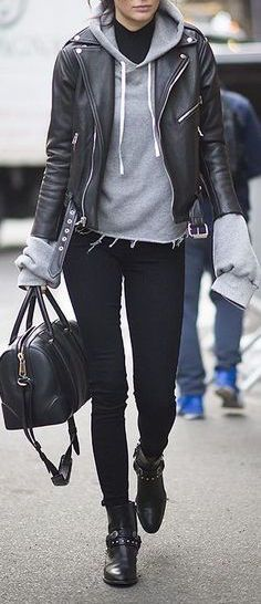 #winter #outfit / Leather Jacket - Grey Hoodie