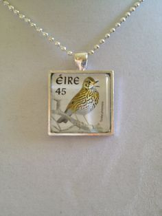 Irish Bird Stamp Pendant Necklace by joytoyou41 on Etsy, $25.00