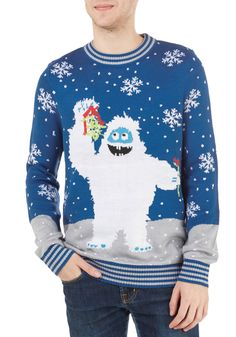 Yeti 'Nother Year Gone By Sweater - Guys, Holiday, Mid-length, Knit, Blue, Multi, Novelty Print, Quirky, Long Sleeve, Crew