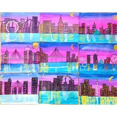 Check out these gorgeous city skyline sunsets and reflections! We used an oil pastel/watercolor resist painting technique for these beauties. I love how the artist featured on the top left included the High Roller in her skyline. Vegas inspired!
