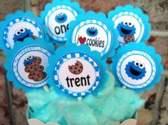 Cookie Monster Birthday Party Cupcake Toppers